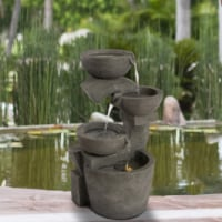 Outdoor Water Fountain 3 Tiers 29 Inch LED Light Backyard Oasis Waterfall - 1 unit