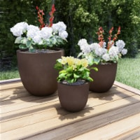 Set of 3 Large Fiber Clay Planters  Antique Brown Weather Resistant Modern Round Outdoor