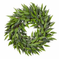 18-Inch Artificial Ficus Microphylla Leaf Wreath  Indoor Lifelike Round Faux Greenery - 1 unit