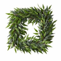 22-Inch Square Artificial Ficus Microphylla Leaf Wreath  Indoor Lifelike Faux Greenery - 1 unit