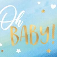 Amscan 644230 Baby Shower Hello World Boy Small Napkin - 1