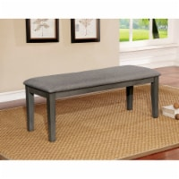 Saltoro Sherpi Rectangular Bench with Fabric Upholstered Seat and Chamfered Legs , Gray - 1 unit