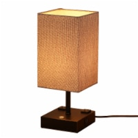 15 in. Black Desk lamp with Charging outlet and USB port Fabric Shade