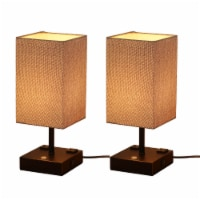 15in. 2pack Fabric Shade Table lamp with Charging outlet and USB port