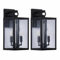 14 in. 2-light Black Outdoor Wall Lantern
