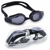 Brybelly SSWI-107 Clear Swimming Goggles with Case, Black - 1
