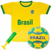 Brybelly SSCR-709 Brazil National Team Kids Soccer Kit, Extra Large - 1