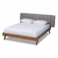 Baxton Studio Brita  King SizeGrey Upholstered Walnut Finished Bed - 1