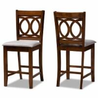 Baxton Studio Lenoir Gray Upholstered Walnut Finished Wood 2-Piece Pub Chair Set - 1