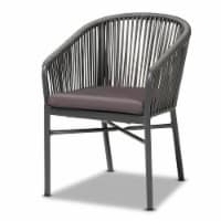 Baxton Studio Marcus Modern & Contemporary Grey Finished Rope & Metal Outdoor Dining Chair