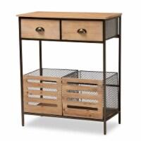 Baxton Studio Oak Brown Wood and Black Metal 2-Drawer Kitchen Storage Cabinet - 1