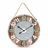 Baxton Studio Garrison Vintage Farmhouse Silver Metal and Multicolored Wood Wall Clock - 1 unit