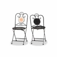 Santina Modern and Contemporary Black Metal 2-Piece Outdoor Dining Chair Set - 1