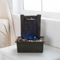 Indoor Water Fountain With LED Lights- Lighted Waterfall Tabletop Fountain With Stone Wall - 1 unit