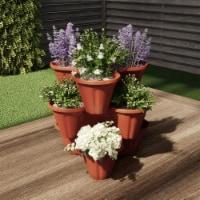 Stacking Flower Pot Tower- Space Saving Set of 3 Indoor Outdoor Vertical Stackable Plastic - 1 unit