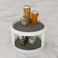 Lazy Susan  9.75 Inch Diameter Plastic Round Two Tier Turntable Kitchen, Pantry and Vanity - 1 unit