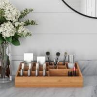 10 Compartment Bamboo Organizer- Desk Caddy-Bathroom Countertop Storage-Office Accessory - 1 unit