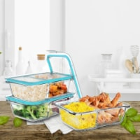 3 Glass Food Storage Containers with Snap on Lids 2 Compartments Meal Prep - 1 unit