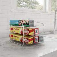 Kitchen Wrap Storage Rack-3 Tier Pantry Organizer for Foil, Plastic Bags, Cabinet - 1 unit