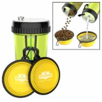 3-In-1 Travel Pet Feeding Containers-Complete 5-PC Set of 2 Collapsible Bowls, 1 Dual Sided