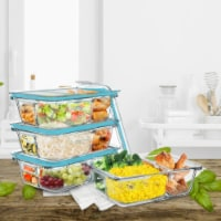 4 Glass Food Storage Containers Three Compartment Portion Control Meal Prep with Snap on Lids - 1 unit