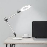 Desktop Swing Arm Architect Desk Lamp, LED Ring Light- Stepless Dimming- High CRI 95 White - 1 unit