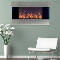 Northwest M029008 Stainless Steel Electric Fireplace with Wall Mount & Remote - 36 in. - 1
