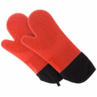 Red Silicone Oven Mitts � Extra Long Professional Quality Heat Resistant with Quilted Lining - 1 unit