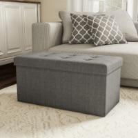 Large Folding Gray Foot Stool Storage Ottoman Bench and Lid 30 x 15 x 15 for Seat or Feet - 1 unit