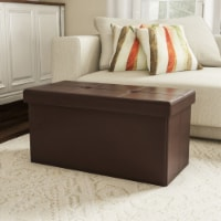 Large Foldable Storage Bench Ottoman  Tufted Faux Leather Cube Organizer Furniture Brown 30 x