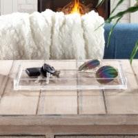 Acrylic Catchall Tray- Decorative Clear Rectangular Modern Minimalist Valet Organizer for