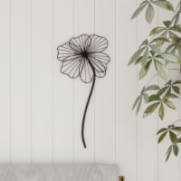 Wall Decor-Rustic Metal Wire Stemmed Flower Sculpture Hanging Accent Art for Living Room, - 1 unit