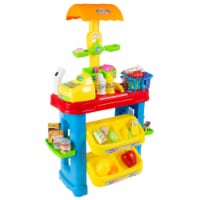 Kids Grocery Store Selling Stand Supermarket Playset with Toy Cash Register, Scanner, Play - 1 unit