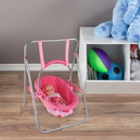 """2-in-1 Baby Doll Swing and Carrier Toy- Fits 13"""" Babies, Dolls & Stuffed Animals, Pink - 1 unit"""