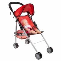 Pretend Play Small Baby Doll Stroller Folds Down Canopy Storage Basket - 1 unit