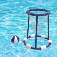 Pool Basketball Hoop Set-Basketball and Air Pump Included-Floating Outdoor Water Game for - 1 unit