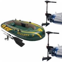 Intex Seahawk 3 Inflatable raft Set and 2 Transom Mount 8 Speed Trolling Motors
