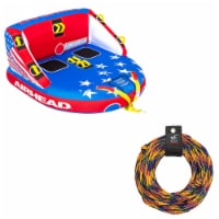 Airhead Patriot 2-Person Towable Kwik-Connect Chariot Tube w/ 60-Foot Tow Rope - 1 Unit