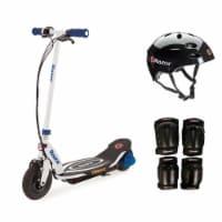 Razor Power Core E100 Kids Ride On Electric Motor Scooter w/ Helmet & Pads, Blue - 1 Piece