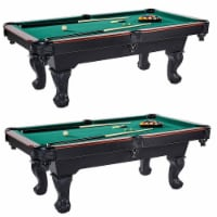 Lancaster 90 Inch Green Pool Table w/ Leather Pockets, Cues, and Chalk (2 Pack)