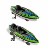 Intex 1-Person Inflatable Kayak w/ 2-Person Inflatable Kayak both w/ oars & pump - 1 Unit