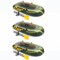 Intex Seahawk 2 Inflatable 2 Person Floating Boat Raft Set with Pump (3 Pack)