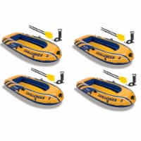Intex Inflatable 2 Person Floating Boat Raft Set w/ Oars & Air Pump (4 Pack) - 1 Unit