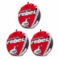 Airhead Rebel 54 Inch 1 Person Red Towable Tube Kit w/ Rope and 12V Pump(3 Pack)