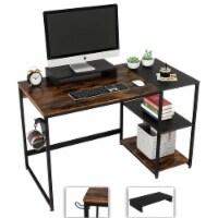 Nost & Host Computer Office Desk Workstation with Storage Shelves, Rustic Brown - 1 Piece