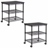 Safco Deskside Wire Machine Stand Utility Cart with 2 Shelves & Wheels (2 Pack) - 1 Piece