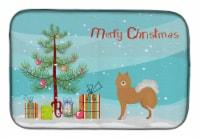 Carolines Treasures  CK3451DDM Brown & White Elo dog Christmas Tree Dish Drying