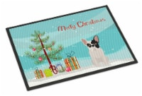 Black and White French Bulldog Christmas Tree Indoor or Outdoor Mat 24x36 - 24Hx36W