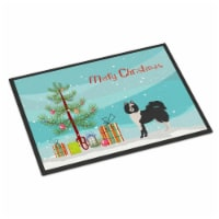 Black and White Elo dog Christmas Tree Indoor or Outdoor Mat 18x27