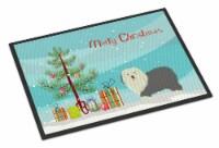Old English Sheepdog Christmas Tree Indoor or Outdoor Mat 18x27